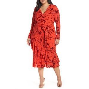 Rachel Rachel Roy Floral Coco Wrap MIDI Dress 18W